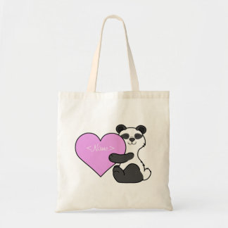 Valentine's Day Panda Bear with Light Pink Heart Tote Bag