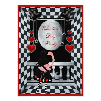 Valentine's Day Party Alice, Flamingo & Moon Invite