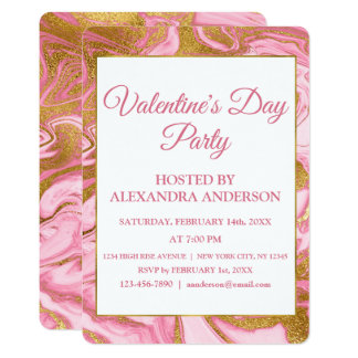 Valentine's Day Party Gold Foil & Hot Pink Marble Card