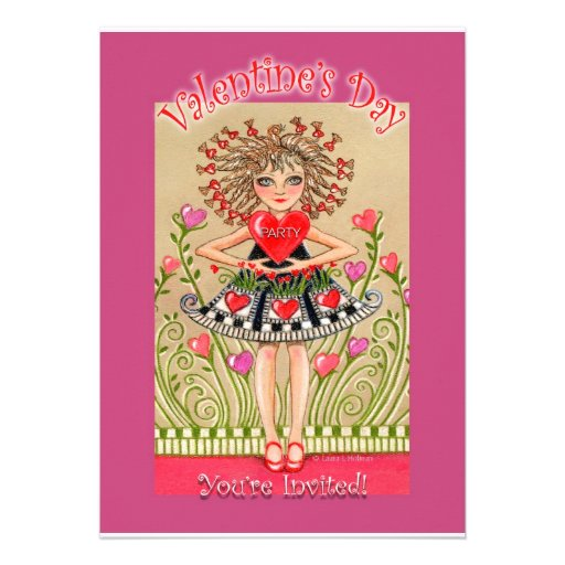 Valentine's Day Party invitation Girl with Heart