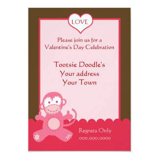 Monkey Valentines Day Cards Invitations Zazzlecouk