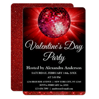 Valentine's Day Party Red Disco Ball Card