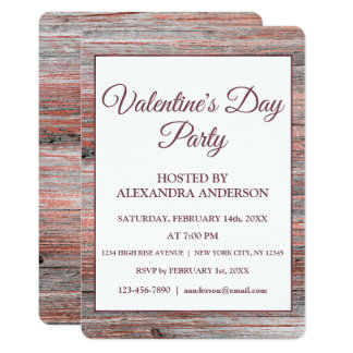 Valentine's Day Party Rose Gold Foil & Rustic Wood Card
