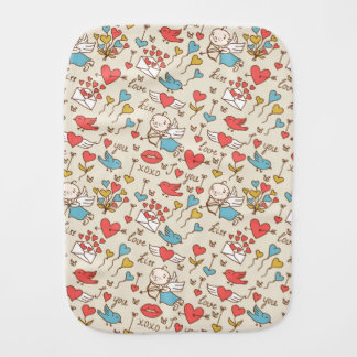 Valentine's Day Pattern with Cupid Burp Cloth