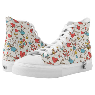 Valentine's Day Pattern with Cupid High Tops