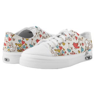 Valentine's Day Pattern with Cupid Low Tops