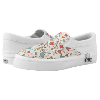 Valentine's Day Pattern with Cupid Slip-On Shoes