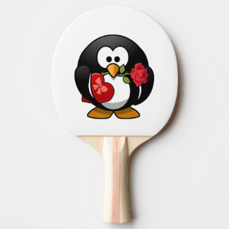 Valentine's Day Penguin Ping Pong Paddle