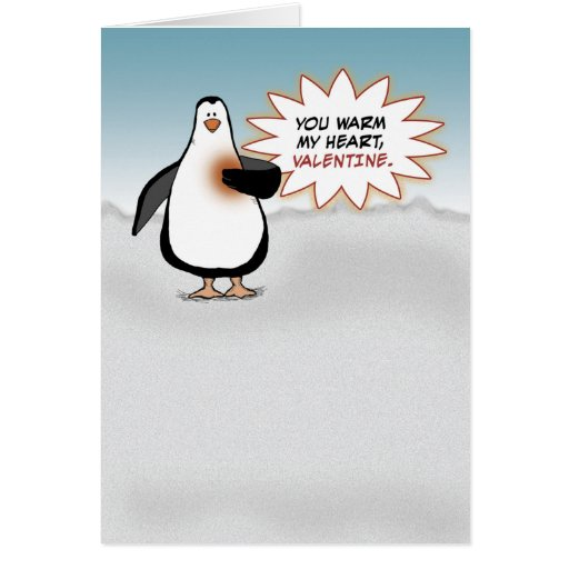 Valentine's Day: Penguin With Warm Heart Greeting Card