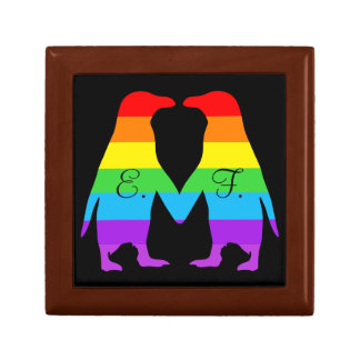 Valentines day penguins - add your initials gift box