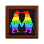 Valentines day penguins - add your initials small square gift box