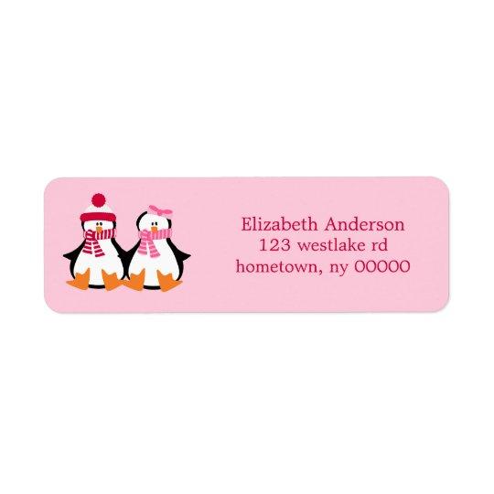 Valentines Day Penguins Return Address Label