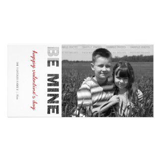 Valentines Day Photo Be Mine White Personalized Personalised Photo Card