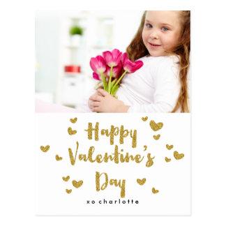 Valentine's Day Photo Glittery Gold Classroom Postcard