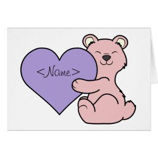 Valentine's Day Pink Bear - Light Purple Heart Greeting Card
