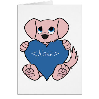 Valentine's Day Pink Dog with Blue Heart Greeting Card