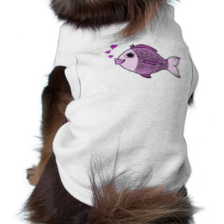 Valentine's Day Pink Fish with Heart Bubbles Sleeveless Dog Shirt