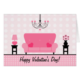 Valentine's Day - Pink Living Room Greeting Card