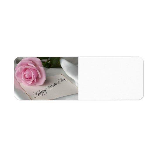Valentine's Day Pink Rose Return Address Label