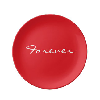 Valentine's Day Plate red with Forever Porcelain Plate