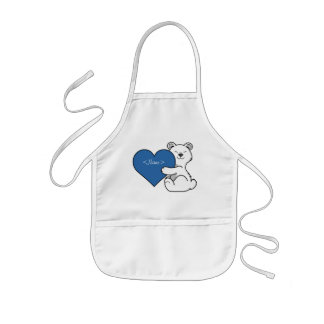 Valentine's Day Polar Bear with Blue Heart Kids Apron