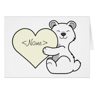 Valentine's Day Polar Bear with Cream Heart Greeting Card