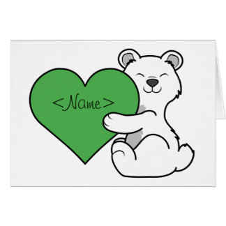 Valentine's Day Polar Bear with Green Heart Greeting Card