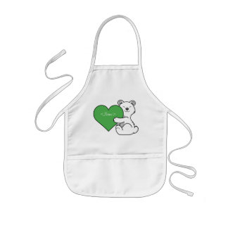 Valentine's Day Polar Bear with Green Heart Kids Apron
