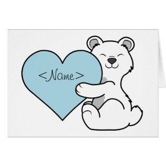 Valentine's Day Polar Bear with Light Blue Heart Greeting Card