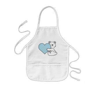 Valentine's Day Polar Bear with Light Blue Heart Kids Apron