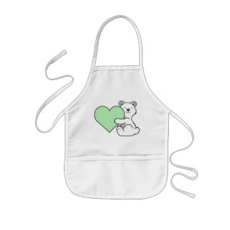 Valentine's Day Polar Bear with Light Green Heart Kids Apron
