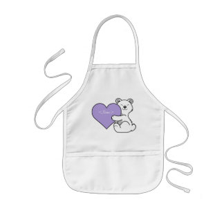 Valentine's Day Polar Bear with Light Purple Heart Kids Apron