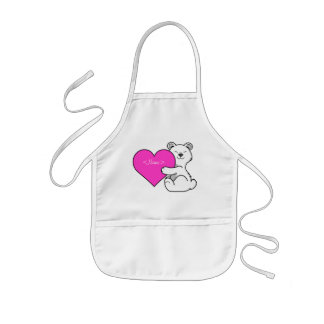 Valentine's Day Polar Bear with Pink Heart Kids Apron