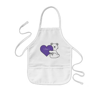 Valentine's Day Polar Bear with Purple Heart Kids Apron