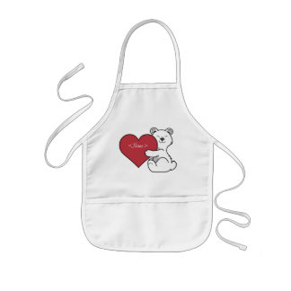 Valentine's Day Polar Bear with Red Heart Kids Apron