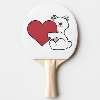 Valentine's Day Polar Bear with Red Heart Ping Pong Paddle