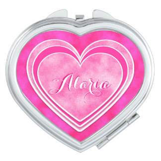 Valentine's Day - Pretty Pink Hearts Personalize Mirrors For Makeup