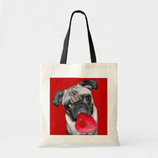 Valentine's Day pug tote bag