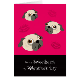 Valentine's Day Pugs & Kisses Card for Sweetheart