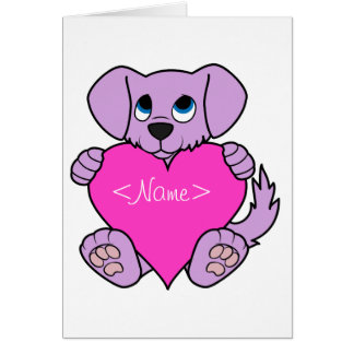 Valentine's Day Purple Dog with Pink Heart Greeting Card
