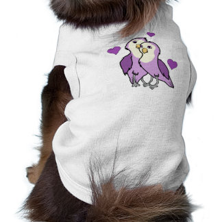 Valentine's Day Purple Love Birds with Hearts Sleeveless Dog Shirt