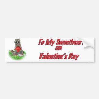 Valentine's Day  Raccoon Bandit Bumper Sticker