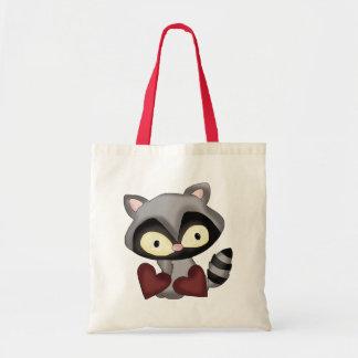 Valentine's Day Raccoon tote bag