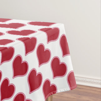 Valentine's Day Red And White Heart Pattern Love Tablecloth