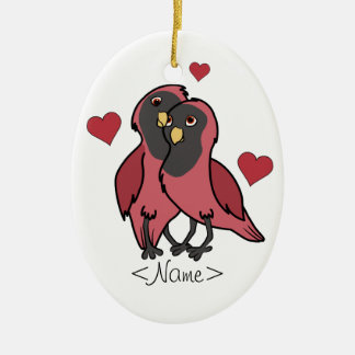 Valentine's Day Red & Black Love Birds with Hearts Christmas Ornament