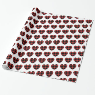 Valentine's Day Red Buffalo plaid Hearts Wrapping Paper