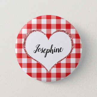 Valentine's Day Red Gingham Heart Custom Name 6 Cm Round Badge