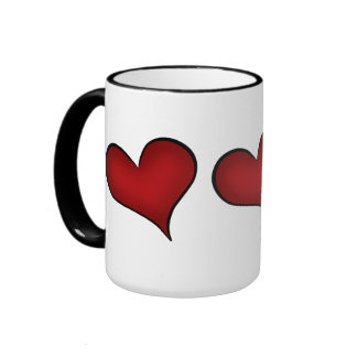 Valentine's Day red hearts Ringer Coffee Mug