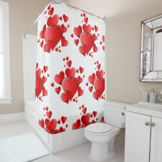 Valentine's Day Red Hearts Shower Curtain