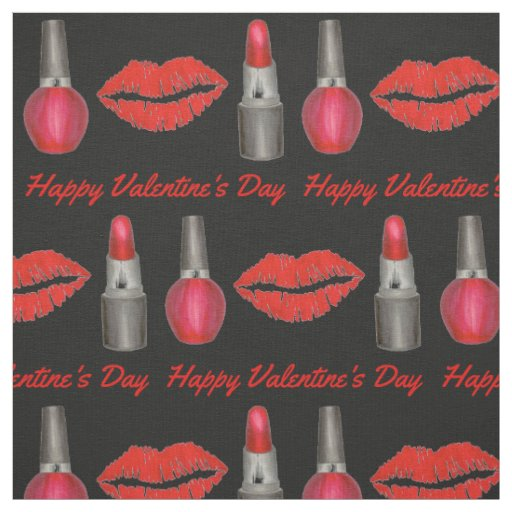 Valentine's Day Red Lipstick Nail Polish Fabric